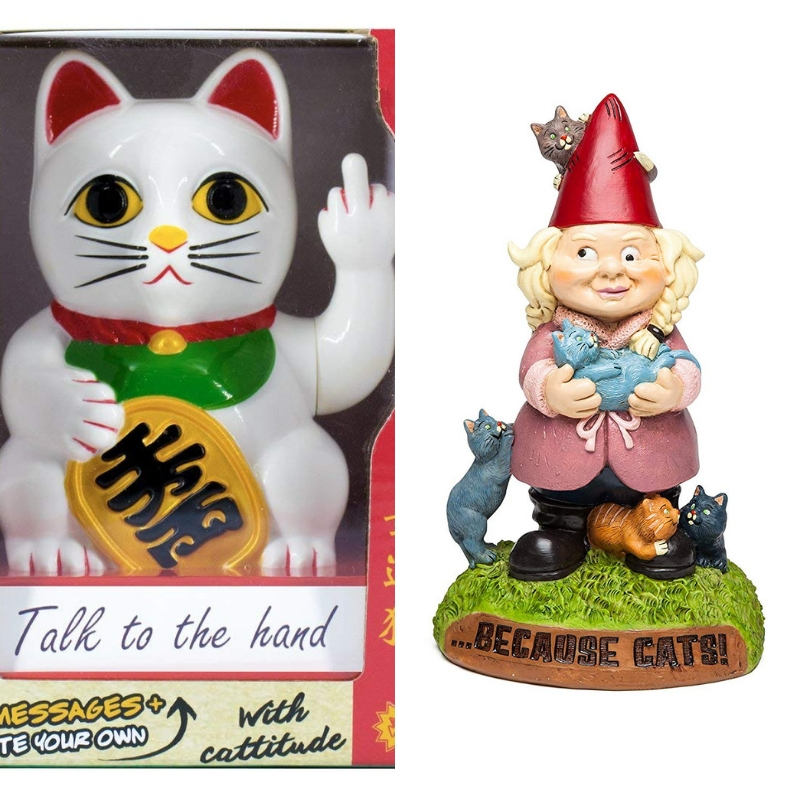 Rude Lucky Cat Crazy Cat Lady Gnome